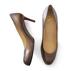 This very rare pair of Christian Louboutin's Simple Pumps 70 in bronze leather, is a true investment to every wardrobe.Size: 40.5.Christian Louboutin signature red outsole.Made in Italy.