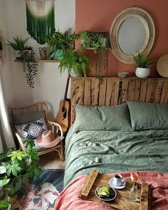 Earth Tone Bedroom Decor Ideas You Can Steal. Earthy Bedroom, Bohemian Bedroom Decor, Bedroom Green, Room Ideas Bedroom, Diy Bedroom Decor, Bedroom Inspo, Bohemian Living, Bedroom With Plants, Urban Bedroom
