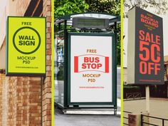 Free Outdoor Advertising Poster Frame Mockup PSD
