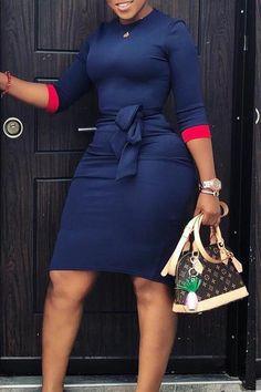 Material:Blending Style:Casual Pattern Type:Solid Sleeve Style:Regular sleeve Sleeve Length:Half Sleeve Neckline:O Neck Dresses Length:Knee Length Silhouette:Sheath Elastic:Yes(Elastic) Sleeve Waist(cm) Curvy Girl Fashion, Look Fashion, Plus Size Fashion, Fashion Outfits, Cheap Fashion, Workwear Fashion, Fashion Hacks, Dress Fashion, Fashion Women