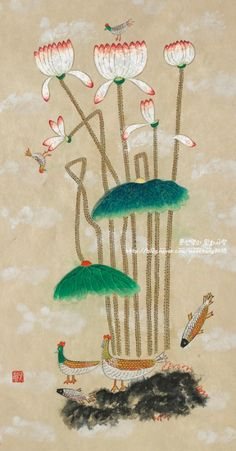 Chinese Drawings, Korean Art, Japanese Artists, Lotus, Folk Art, Dream Catcher, Tropical, Watercolor, Traditional