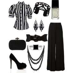Corporate goth (I'm not digging the stripped shirt but that is easily changed out. Polyvore Outfits, Polyvore Casual, Polyvore Dress, Polyvore Fashion, Alternative Mode, Alternative Fashion, Dark Fashion, Gothic Fashion, Casual Outfits