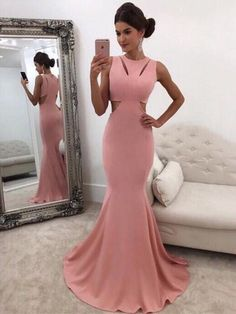 Trumpet/Mermaid Scoop Neck Silk-like Satin Sweep Train Ruffles Prom Dresses $148.99