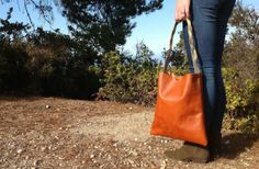 Large hand made leather tote bag by kingstreetcollars on Etsy, $65.00