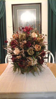 Floral Arrangement XL Elegant Tuscan Centerpiece SHIPPING INCLUDED Large Silk Table