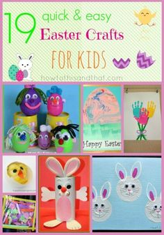 19 Quick and Easy Easter Crafts For Kids.Next up in our Quick & Easy Crafts For Kids series- EASTER! Here is a list of our favorite crafts that we think Easter Arts And Crafts, Diy Crafts For Kids Easy, Spring Crafts, Crafts For Teens, Fun Crafts, Paper Crafts, Easter Activities, Holiday Activities, Craft Activities For Kids
