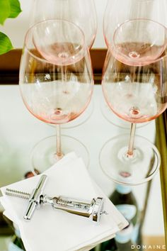 pink wine glasses