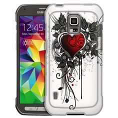 Samsung Galaxy S5 Active Highlighted Heart Red on White Slim Case