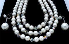 Multi 3 Strand Lucite Pearl Cyrstal Bead Estate Set Vintage Necklace Earrings | eBay