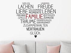 Das Wandtattoo Familienherz hier entdecken. ❤ Spitzenqualität aus Deutschland | schnelle Lieferung | portofrei (D) bei WANDTATTOO.DE bestellen!