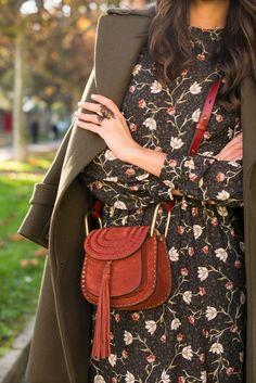 Olive coat, floral dress and Chloé bag