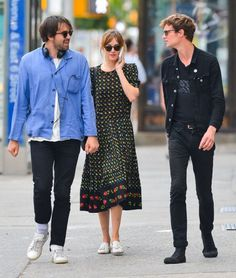 """livefastdiechung:  """"Justin Young, Dakota Johnson and Matthew Hitt in the East village on July 23, 2014 in New York City.  """""""
