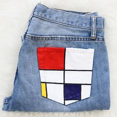custom credit cards Hand-Painted Jeans Composition C by Piet Mondrian These jeans were hand painted by me with acrylic paints. Painted Jeans, Painted Clothes, Hand Painted, Diy Clothes Paint, Diy Jeans, Piet Mondrian, Diy Clothing, Custom Clothes, Diy Clothes Vintage