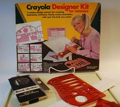 Crayola Designer Kit for interiors, from 1983. A unique design system for creating bedrooms, kitchens, family rooms and baths, with just the look you want. Look at how much fun the girl on the box is having, that could be you! Included in the box is a 32 page interior design planning