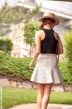 Outfit Of The Yesterday: Loft Tweed Knit Circle Skirt (4th of July Style) - t h e (c h l o e) c o n s p i r a c y : fashion + life + style #loft #urbanoutfitters #panamahat #rosegold #prada #summerstyle