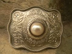 Rhinestone Pearl Belt Buckle Silver Western Engraved Womens Belt Buckle