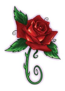 Red Bullseye Rose temporary tattoo