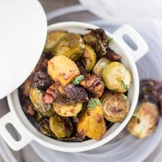 Oven-Roasted Brussels Sprouts and Acorn Squash with Dates, Pecans, Spices in an Apple Cider Dressing