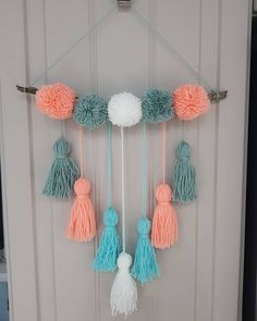 The tassel. The cousin of the pompom is how I see it! Medium pompom and tassel wall hanging plus P&P. Can also be made in personal… Diy Crafts For Home Decor, Diy Crafts Hacks, Diy Arts And Crafts, Diy Wall Decor, Diy Crafts For Kids, Room Decor, Pom Pom Crafts, Yarn Crafts, Dream Catcher Craft