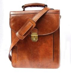 Tan Leather Cross-body Bag Handbag Messenger Shoulder Bag Elie fits an ipad