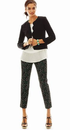 Chiffon shell, Black jacket, Black patterned capris, sandals, jewelry in color and shape to match pattern on pants.