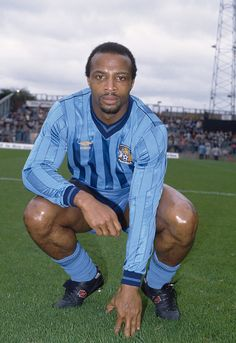 Cyrille Regis of Coventry City before the Canon League Division One match between Coventry City and Leicester City at Highfield Road on October 1985 in Coventry, England. Get premium, high resolution news photos at Getty Images Football Icon, Football Cards, Football Shirts, Football Players, Coventry England, Coventry City Fc, Football Images, Everton Fc, Golden Days