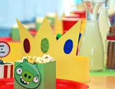 angry birds themed birthday party dessert table decorations