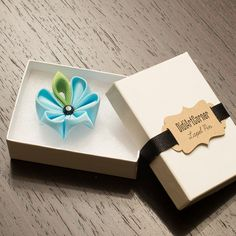 Lapel Pin  Light Blue Kanzashi Flower with green by DidiArtCorner
