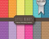 Digital Paper Pack Instant Download - Rainbow papers Little Hearts DIY scrapbook personal and commercial use