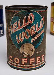1930 Hello World Doggone Coffee tin, early radio ad. this one for KWKH, Diamond Coffee Mills, Shreveport Louisiana.