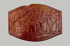 Carved Plaque Period: New Kingdom Dynasty 18 Reign of Amenhotep III Date:ca. 1390–1352 B.C. Geography: Egypt, Upper Egypt; Thebes Medium:Carnelian