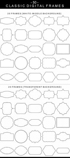 50 Classic Digital Frames, Borders Clip Art, Digital Clipart, Digital Download, Clipart Frame, Frames Clipart, Digital Labels, Basic Frames
