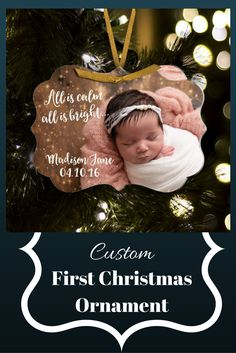 I love this idea of first Christmas ornament! Such a great keepsake. #christmas #ornament #christmasornament #custom #babyornament #customornament #firstchristmas #firstchristmasornament #gift #present #affiliate