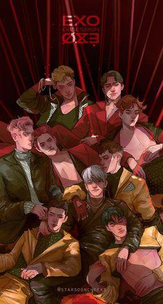 Blacken my heart creepin' dark night🖤 Exo Art, Illustration, Drawings, Exo Fan Art, Anime, Exo Anime, Fan Art