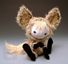 Kitsune doll. Links to a gallery of wonderful mini dolls and teddys by this artist.
