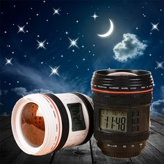 Camera Lens Music Alarm Clock with Starry Sky Projector Lamp
