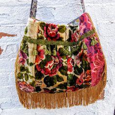 Spring velvet floral boho bag with fringe and tassels
