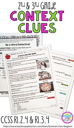 Are you looking for a way to teach your second and third graders about context clues and words and phrases? This packet of reading comprehension passages with imbeded vocabulary will help your 2nd and 3rd graders master Common Core Standard RL.2.4 and RL.3.4.
