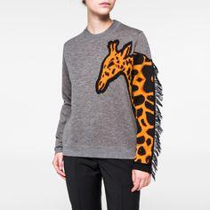 Women's Grey Merino Wool Giraffe-Sleeve Sweater