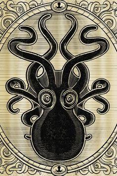 Sourpuss Kraken Up Shower Curtain, Steampunk Octopus Shower Curtain -- n.  24e (toiveiden kärkipäässä tämäkin)