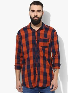 d56d9ae2a51 Buy Lee Marc orange casual men shirt Online at Low prices in India on  Winsant
