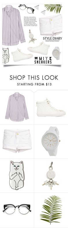 """""""White sneakers"""" by gold-candle23 ❤ liked on Polyvore featuring J.W. Anderson, Rebecca Minkoff, Rip Curl, Alexander Wang, Anja, Pier 1 Imports and Jennifer Meyer Jewelry"""