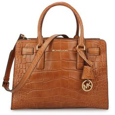 MICHAEL KORS Dillon Large Embossed-Leather Tote Brown