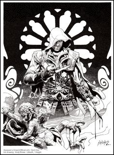 Assassin's Creed (official art)-- Dark Ezio : Ink version-- all traditional ink line art-- Ubisoft/ Insight Editions-- Andy Brase-- https://www.facebook.com/AndyBraseArt
