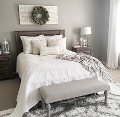 """Art above bed: subtle graphic quote with magnolia wreath- is it too """"basic""""?"""