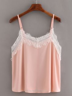 Shop Lace Trimmed Chiffon Cami Top - Pink online. SheIn offers Lace Trimmed Chiffon Cami Top - Pink & more to fit your fashionable needs.