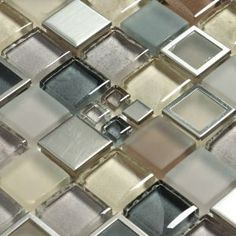 Coastal colors blended in metal mosaic tile and glass tile pieces | Grey, gold and tan | Simply elegant | Perfect for kitchen backsplash or bathroom backsplash