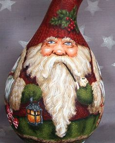 Swedish Jul hand painted gourd Santa Claus Tomte 9 by SuzysSantas, $145.00