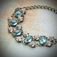Vintage Rhinestone Bracelet, Bride, Wedding, Blue, Aquamarine, Jewelry by rewelliott on Etsy