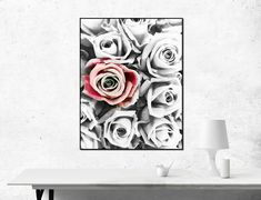 ONE RED ROSE Print, Black and White Wall Art, Modern Art, Artistic print, Home decor, Instant Download, Romantic Wall Art, Rose Poster by ThePrintsYouWant on Etsy Black And White Roses, Black And White Wall Art, Red Walls, Love Rose, Art Moderne, Beautiful Gifts, Printable Art, Printables, Decoration